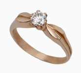 On sale Gold rings with zircon 19032177